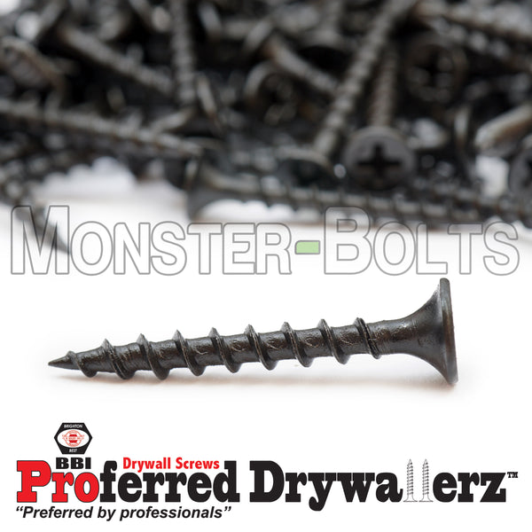 "#6-9 x 1-1/4"" Coarse Thread Phillips Bugle Head Drywall Screws w/ Piercing Point, Steel Black Phosphate"