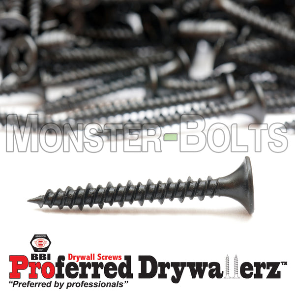 "#6 x 1-1/4"" Hi-Lo Thread Phillips Bugle Head Drywall Screws w/ Piercing Point, Steel Black Phosphate"