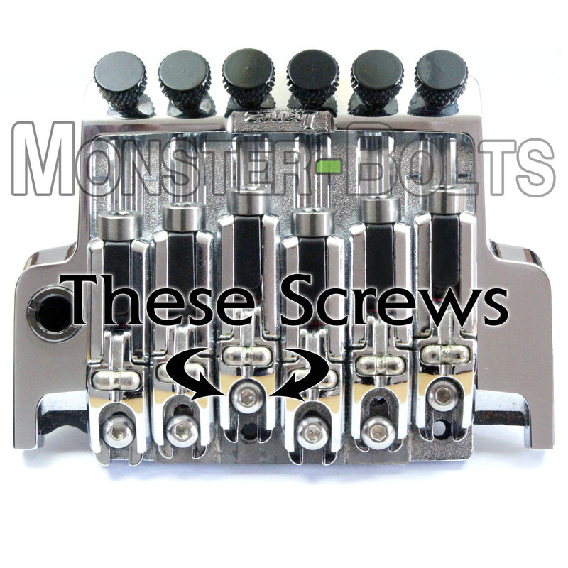 12.9 Alloy Steel with Black Oxide Guitar Saddle Intonation Screws - for Ibanez Tremolo - Monster Bolts