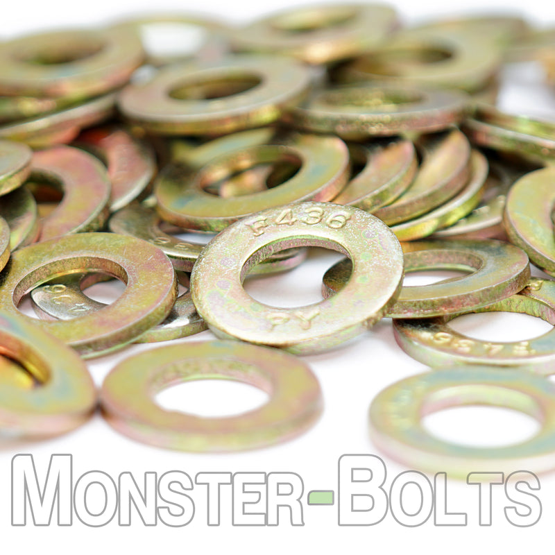 US / Inch - F436 Structural Flat Washers, Zinc-Yellow Plated Steel