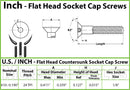 #10-24 - Stainless Steel Flat Head Socket Cap screws - 18-8 / A2