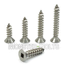 #6 Square Drive Flat Head Type A Self-Tapping Sheet Metal Screws, Stainless Steel 18-8