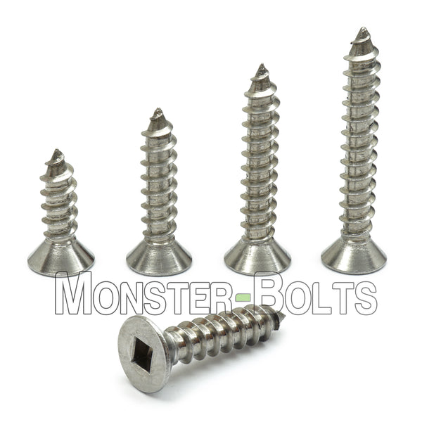 #12 Square Drive Flat Head Type A Self-Tapping Sheet Metal Screws, Stainless Steel 18-8 - Monster Bolts