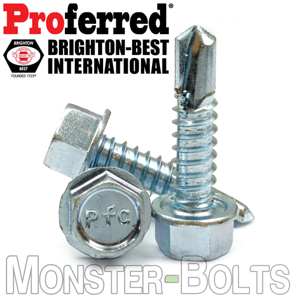 #12 Tek Screws - Indent HWH Hex Washer Head Unsloted, Zinc #3 Point Self Drilling - Monster Bolts