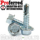 #10 Tek Screws - Indent HWH Hex Washer Head Unsloted, Zinc #3 Point Self Drilling