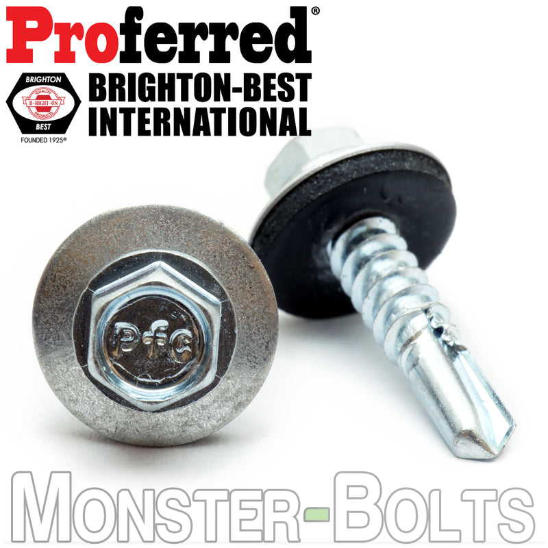 #10 Indent HWH w Bonded EPDM Sealing Washer, Zinc #3 Point BSD Self Drilling Proferred TEK Screws