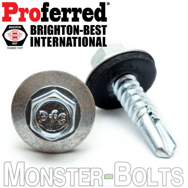 "#14 (1/4"") Indent HWH w Bonded EPDM Sealing Washer, Zinc #3 Point BSD Self Drilling Proferred TEK Screws - Monster Bolts"
