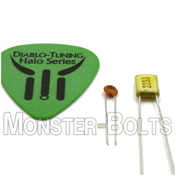Guitar Tone and Volume Control Capacitor upgrade set - Easy upgrade to Ibanez Prestige Level - Monster Bolts