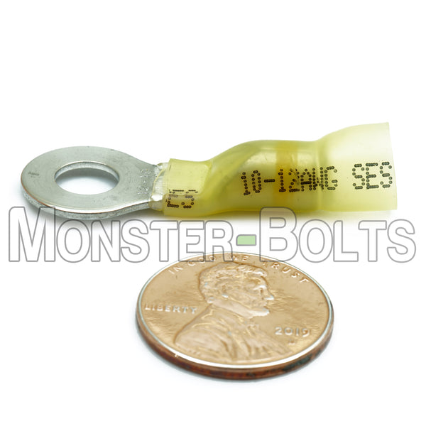 SES Krimpa-Seal Waterproof Crimp Long Neck Ring Terminals, Yellow 10-12 AWG - Monster Bolts
