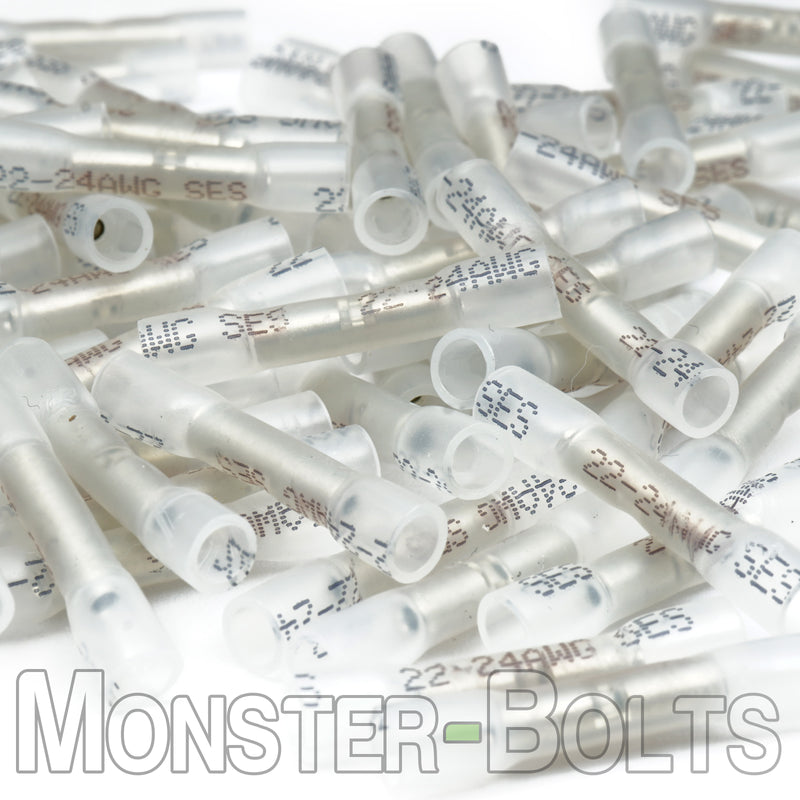 SES Krimpa-Seal Waterproof Crimp Butt Connectors, Clear 24-22 AWG - Monster Bolts