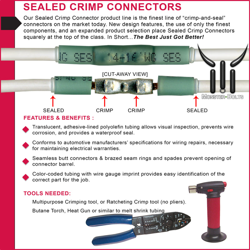 SES MultiLink Waterproof Crimp and Solder Butt Connectors, Red, 22-18 AWG - Lead Free - Monster Bolts