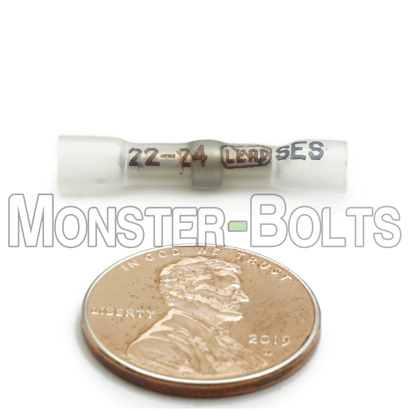 SES MultiLink Waterproof Crimp and Solder Butt Connectors, Clear 22-24 AWG - Lead Free - Monster Bolts