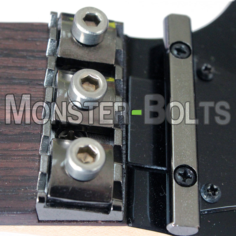 Guitar Locking Nut and Saddle Intonation Screws, Blue Anodized Titanium - Floyd Rose Tremolo - Monster Bolts