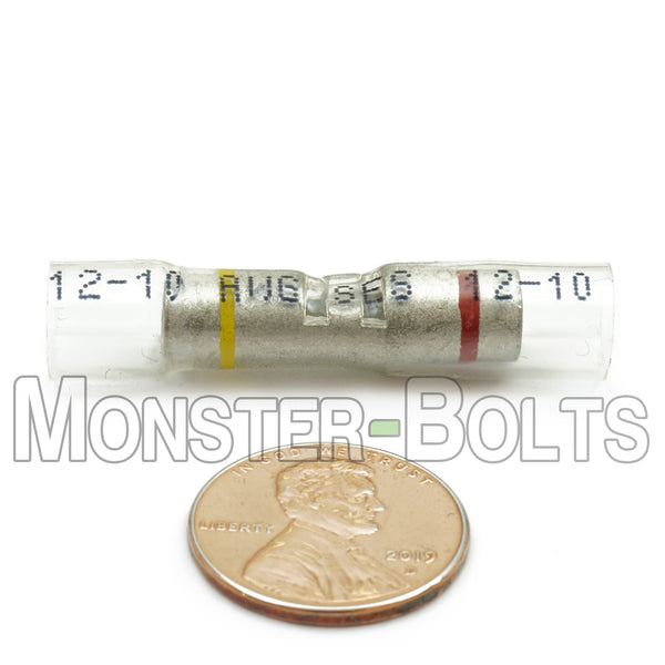 OptiSeal Waterproof Crimp Step Down Butt Connectors, Yellow/Red, 12-10 to 8 AWG - Monster Bolts