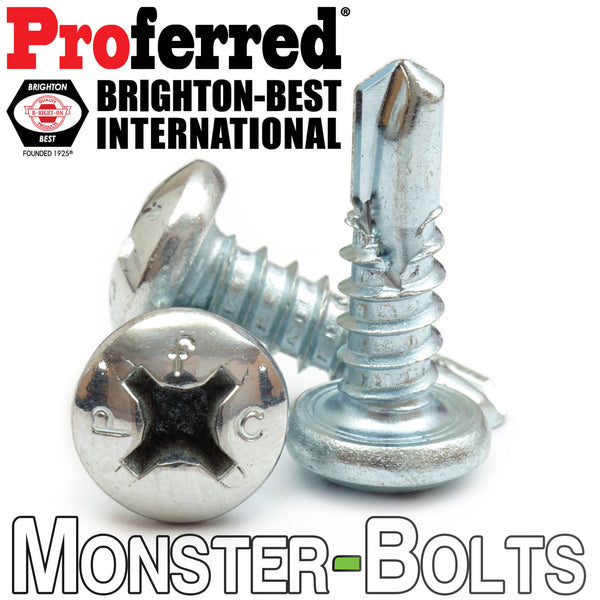 #10 Phillips Pan Head, Zinc #3 Point BSD Self Drilling Tek Screws - Monster Bolts