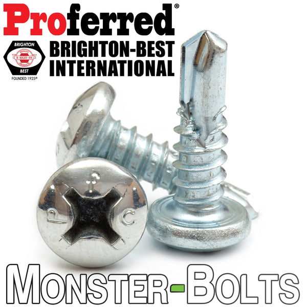 #12 Phillips Pan Head, Zinc #3 Point BSD Self Drilling Tek Screws - Monster Bolts