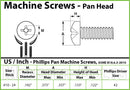 #10-24 Phillips Pan Head Machine screws, Stainless Steel 18-8