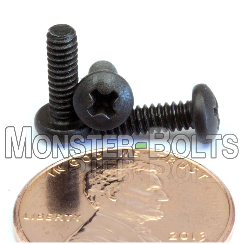Black Oxide Stainless Phillips Pan Head Machine Screw  4-40 x 1//4 Qty 100