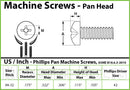 #8-32 Phillips Pan Head Machine screws - Steel with Black Oxide