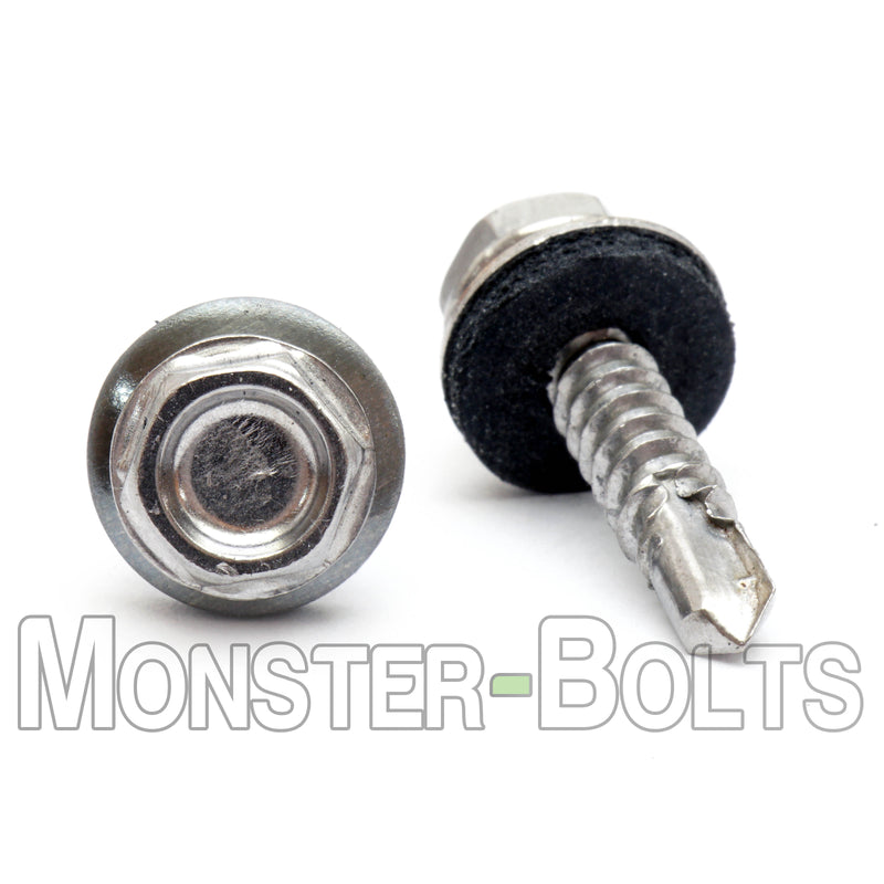 #10 Hardened Stainless Steel Indent HWH w/ Bonded EPDM Sealing Washer, #3 Point BSD Self Drilling TEK Screws