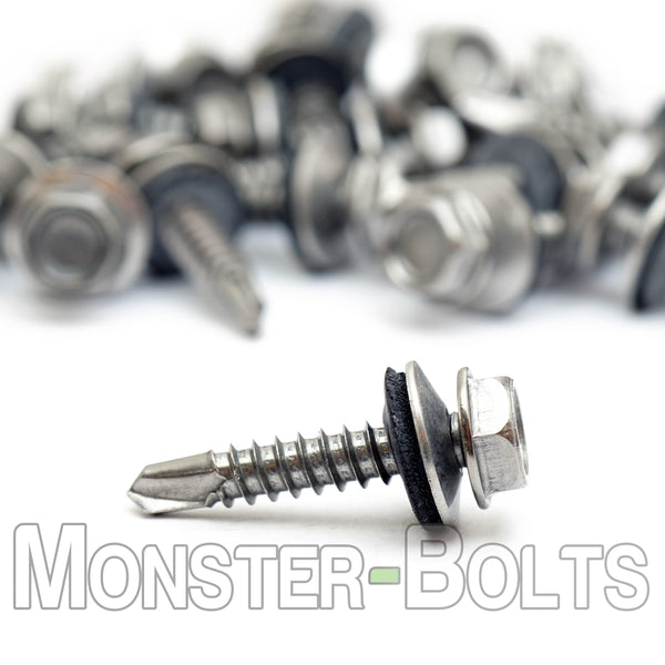 #12 Hardened Stainless Steel Indent HWH w/ Bonded EPDM Sealing Washer, #3 Point BSD Self Drilling TEK Screws - Monster Bolts