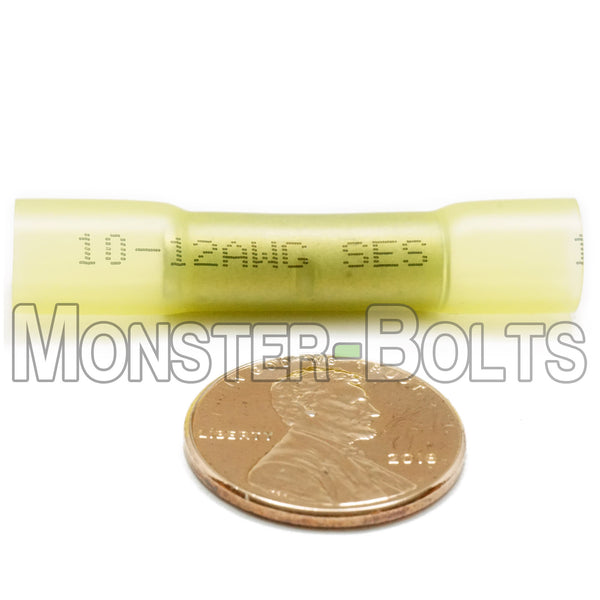 Krimpa-Seal Heat Shrink Butt Connectors, Yellow, 10-12 AWG - Monster Bolts