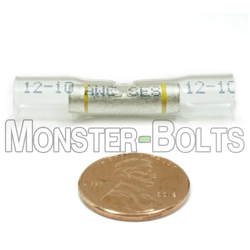 SES OptiSeal Waterproof Butt Connectors, Crystal Clear Tubing w/ Yellow Stripe, 10-12 AWG. - Monster Bolts