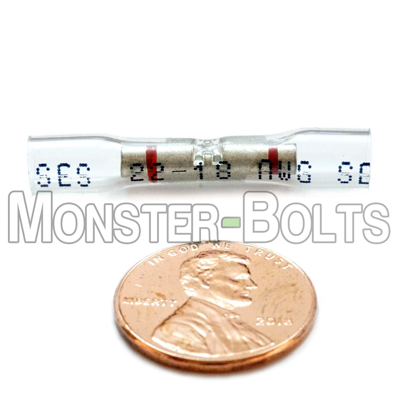 SES OptiSeal Waterproof Butt Connectors, Crystal Clear Tubing w/ Red Stripes, 22-18 AWG. - Monster Bolts