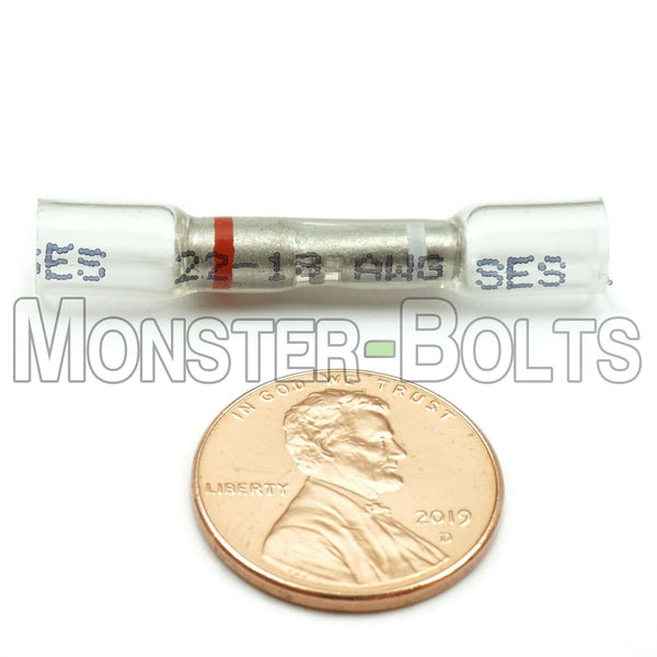OptiSeal Heat Shrink Crimp Step Down Butt Connectors, White/Red, 22-24 AWG to 22-18 AWG - Monster Bolts