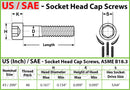 #3-48 Stainless Steel Socket Head Caps screws, Coarse Thread - 18-8 / A2