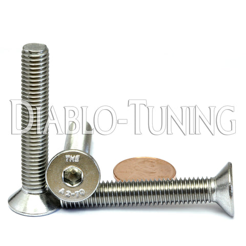 (1000) M8-1.25 x 50mm Stainless Flat Head (Full Thread)