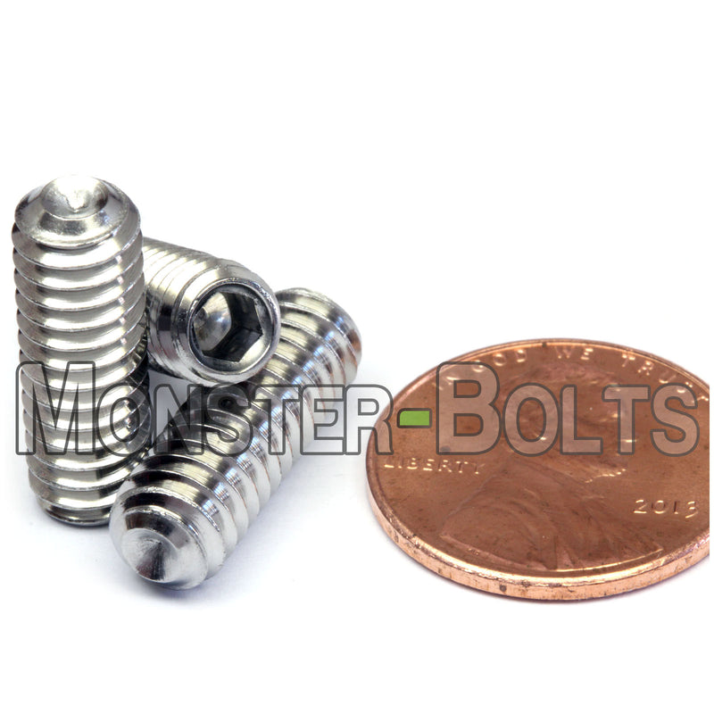 "1/4""-20 - Stainless Steel Cup Point Socket Set screws - A2 / 18-8 - Monster Bolts"