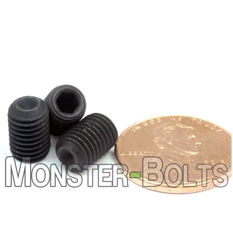 "1/4""-28 Fine - Cup Point Socket Set screws - Alloy Steel w/ Thermal Black Oxide - Monster Bolts"