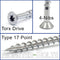 "#12 x 4"" Star (Torx) Drive Flat Head w/ Nibs, 305 Stainless Steel Coarse Thread Type '17' point, Wood / Deck Screws"