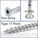 "#10 x 2-1/2"" Star Drive Flat Head w/ Nibs, 305 Stainless Steel, Type '17' point - Bulk Carton 2,000 pcs."