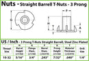 "#10-32 x 5/16"" - 3 Prong T-Nut Straight Barrel Zinc Plated Tee-Nut"