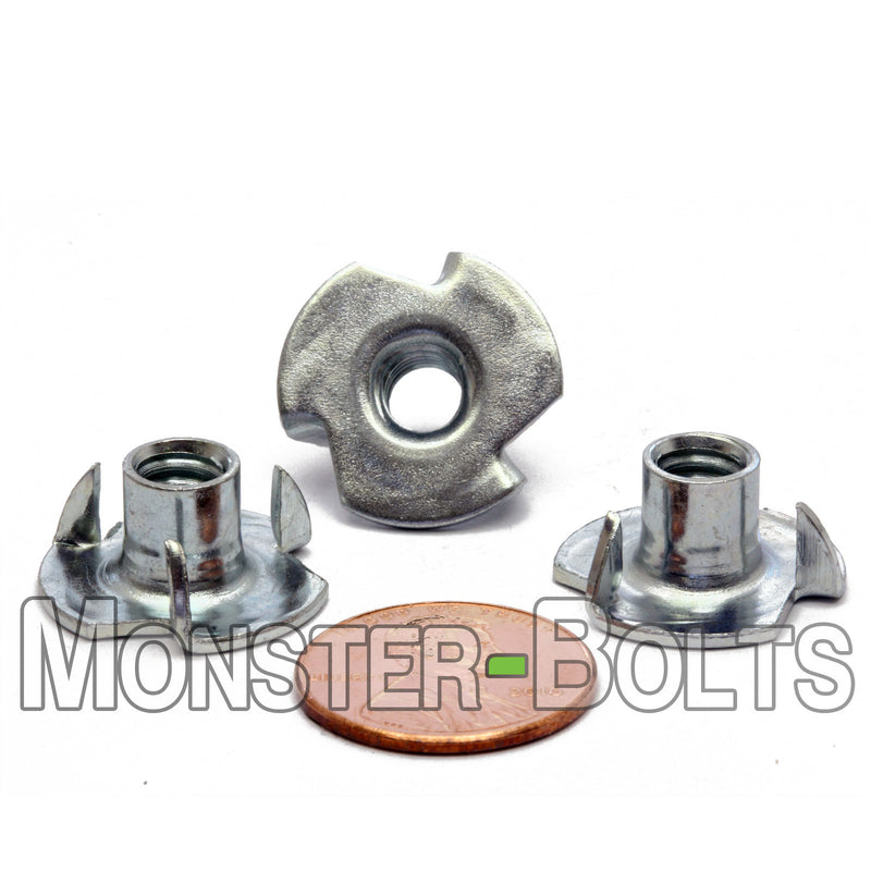 """T-Nut 25 Tee Nuts 1//4/""""-20 6-Prong  Low Carbon Steel"""