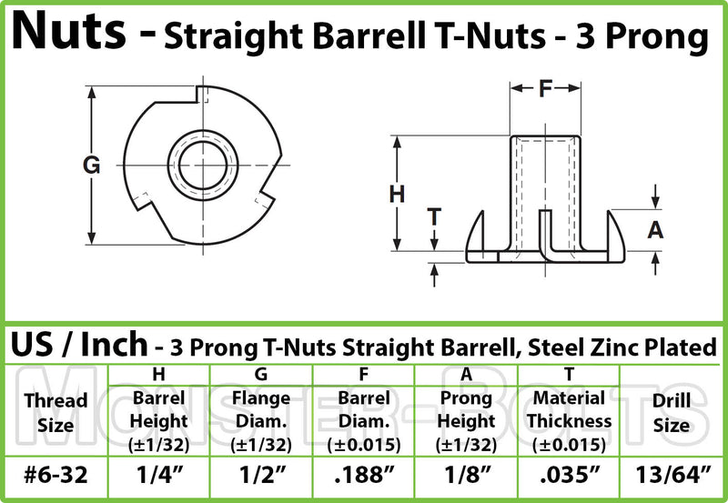 "#6-32 x 1/4"" - 3 Prong T-Nut Straight Barrel Zinc Plated Tee Nut"