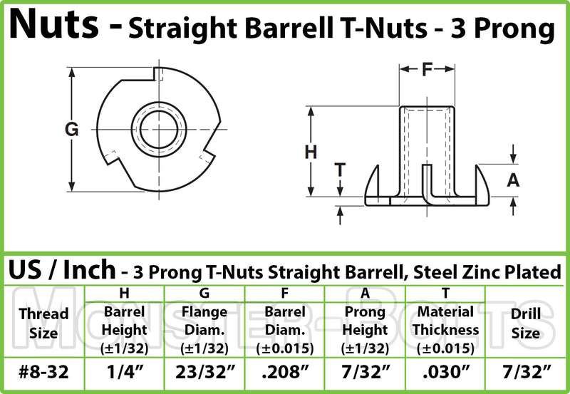 "#8-32 x 1/4"" - 3 Prong T-Nut Straight Barrel Zinc Plated Tee Nut"