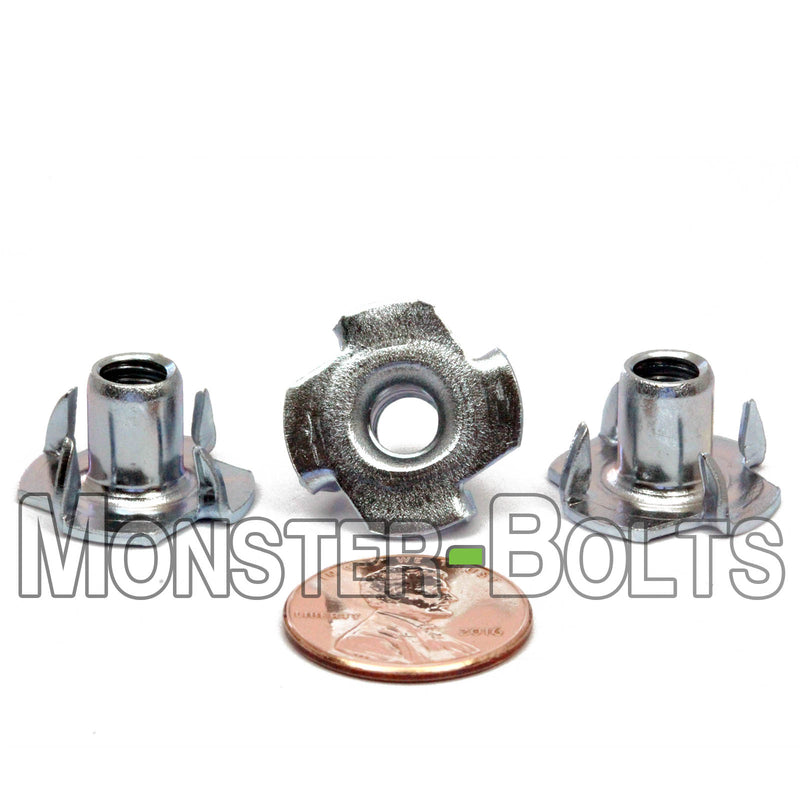 "3/8-16 x 7/16""  4 Prong Tee Nut Straight Barrel Zinc Plated T-Nut - Monster Bolts"