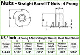 1/4-20 - 4 Prong Tee Nut Straight Barrel Zinc Plated T-Nut