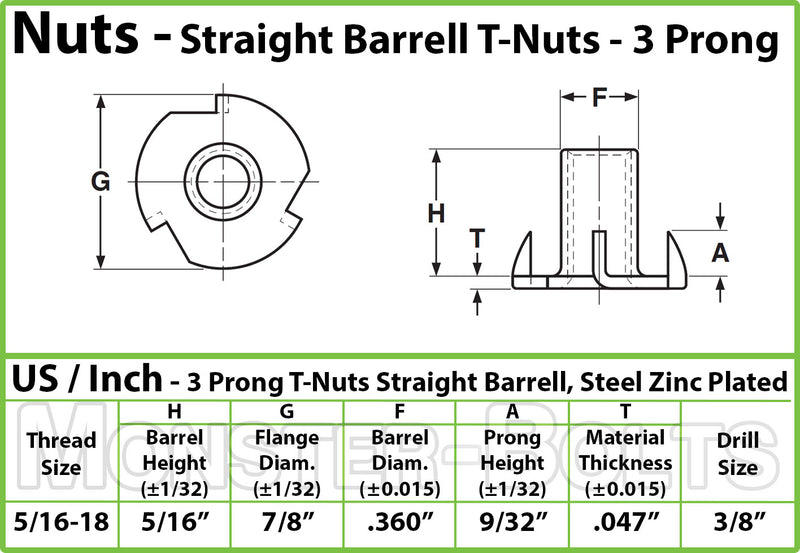 "5/16-18 - 3 Prong Tee Nut Straight Barrel Zinc Plated T-Nut, 5/16"" 3/8"" or 5/8"" - Monster Bolts"