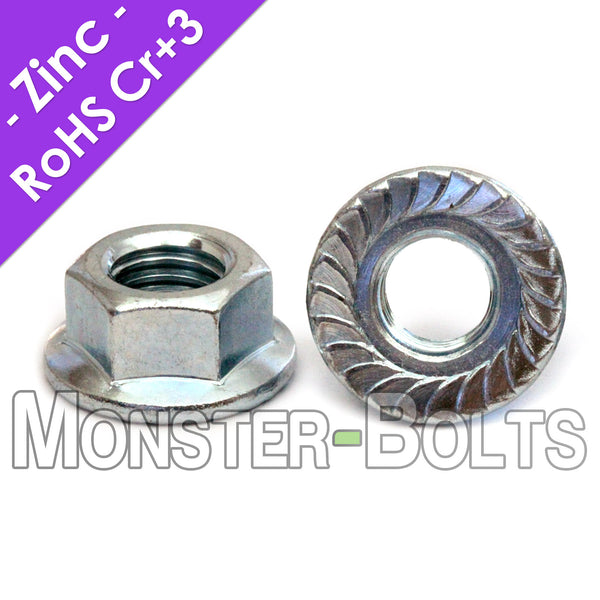 U.S. / Inch - Hex Serrated Flange lock Nuts - Case Hardened Zinc Plated Steel