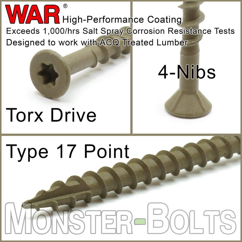 #10 Star (Torx) Drive Flat Head w/ Nibs, WAR coated steel Coarse Thread Type '17' point, for ACQ Treated lumber