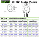 Metric Fender Washer - Zinc Plated Steel DIN 9021, Grade A