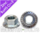 Hex Serrated Flange Nuts, Zinc Plated Class 8 Alloy Steel Metric DIN 6923 / ISO 4161 - Monster Bolts