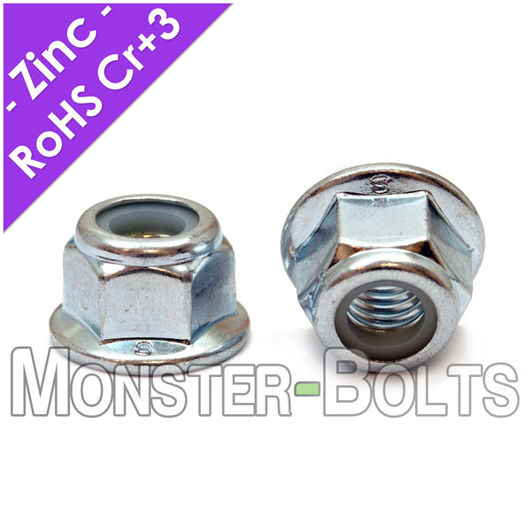 DIN 6926 Prevailing Torque Nylon Insert Hex Lock Nuts - Zinc Plated Alloy Steel, Class 8 Cr+3 RoHS