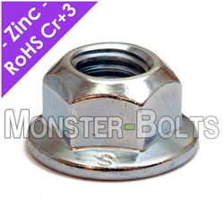 DIN 6927 Hex Flange Prevailing Torque All-Metal Lock nuts - Zinc Plated Alloy Steel, Metric Class 8 Cr+3 RoHS