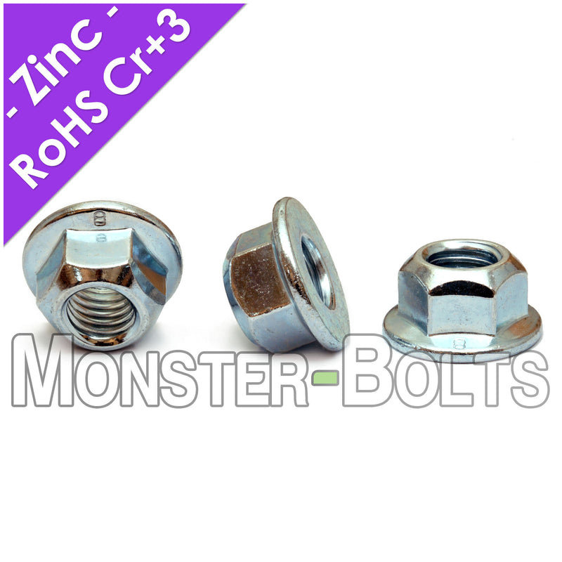 All-Metal Hex Flange Prevailing Torque Lock nuts - Zinc Plated Alloy Steel, DIN 6927 Metric Class 8 Cr+3 RoHS - Monster Bolts
