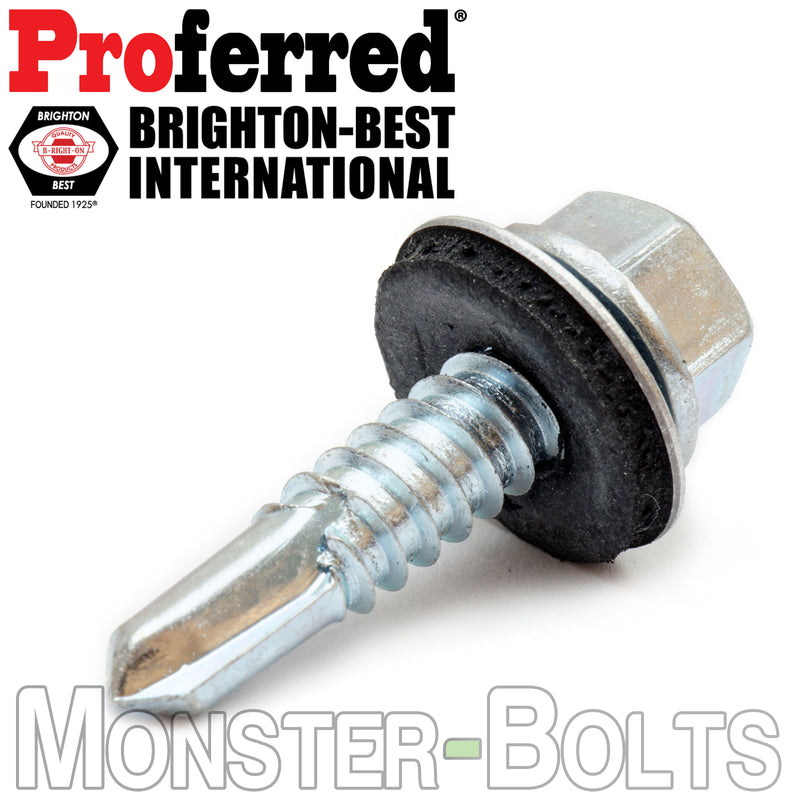 "#14 (1/4"") Indent HWH w Bonded EPDM Sealing Washer, Zinc #3 Point BSD Self Drilling Proferred TEK Screws"